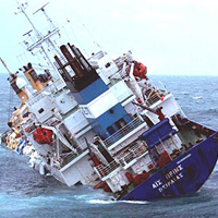 Photo of cargo ship sinking